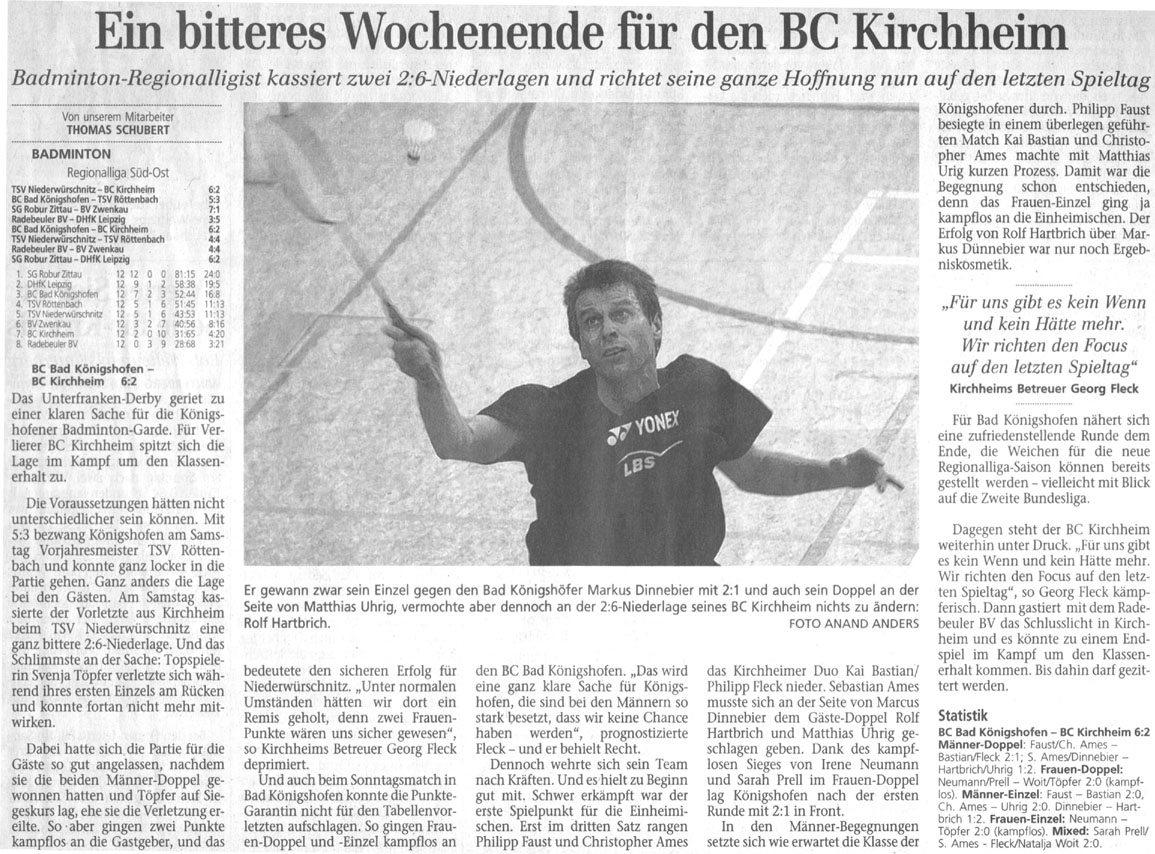 Spieltag des BC Kirchheim in Bad Königshofen