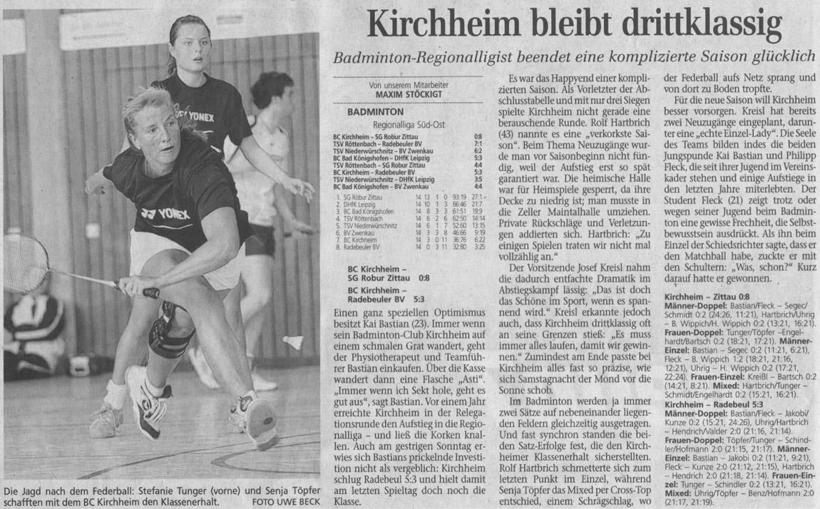 Bericht vom letzten Spieltag in der Regionalliga BC Kirchheim