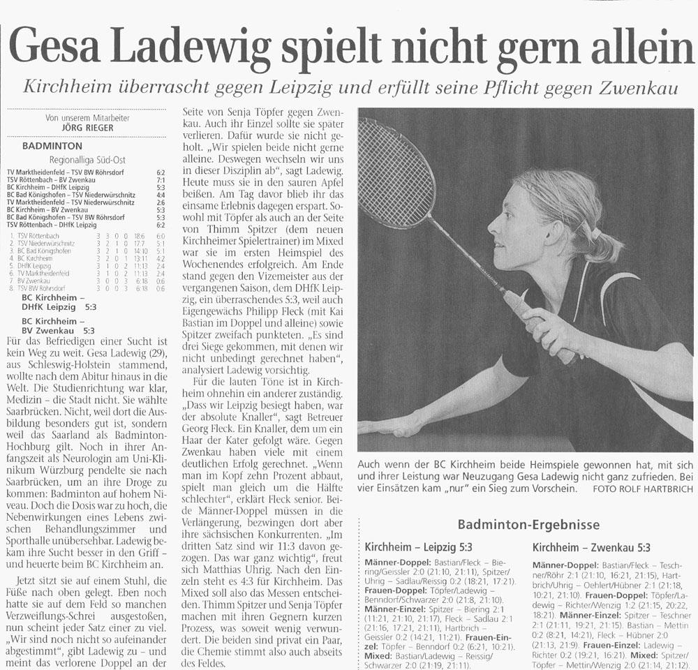 Spielbericht BC Kirchheim und Porträt Gesa Ladewig